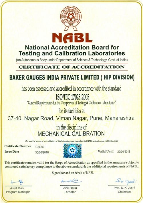 NABL Certified - Calibration Services - Baker Gauges India Pvt. Ltd.