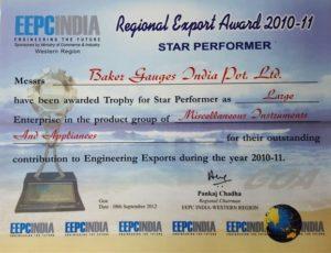Regional Export Awards - Baker Gauges India Pvt. Ltd.